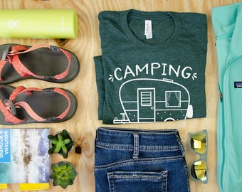 Camping is My Happy Place Short Sleeve Unisex T-shirt | Retro Camper | Airstream Camp | Happy Camper