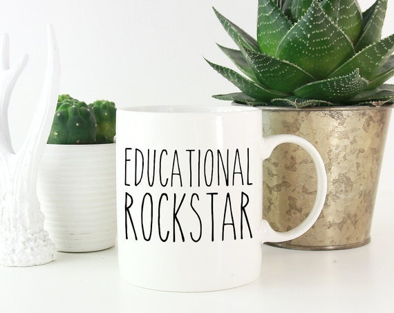 Educational Rockstar Teacher Mug | Coffee or Even Tea Mug 11 oz Glossy White