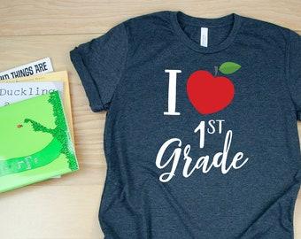 Cute K-6 I Heart Grade Level Teacher T-shirt | Red Apple Teacher Tshirt | Available for Kindgerarten, First Grade, Second Grade, and Beyond
