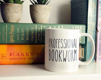 Professional Bookworm Reading and Librarian Mug |  Coffee or Even Tea Mug 11 oz in Glossy White