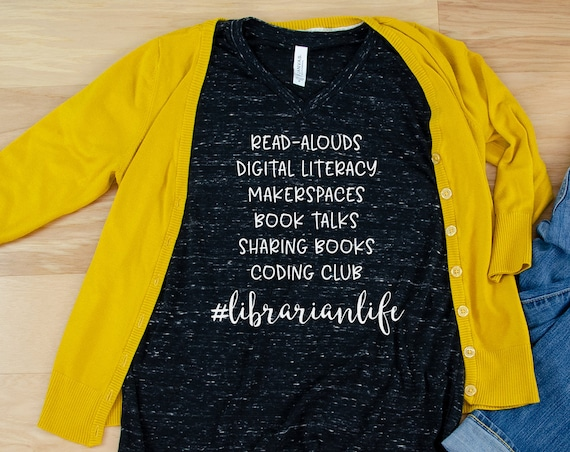 Custom Librarian Life List Librarian Unisex V-Neck Short Sleeve T-shirt | Vintage-Feel & Super-Soft | Book-Talks and Makerspaces