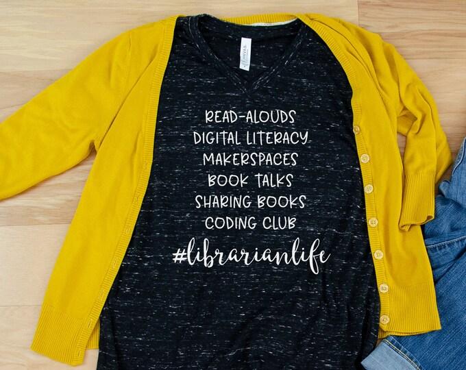 Custom Librarian Life List Librarian Unisex V-Neck Short Sleeve T-shirt | Vintage-Feel & Super-Soft | Book-Talks and Makerspaces