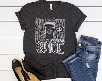 Hand Lettered Pumpkin Spice Typography Autumn/Fall Super-Soft Tshirt | Pumpkin Patch | Cute Fall