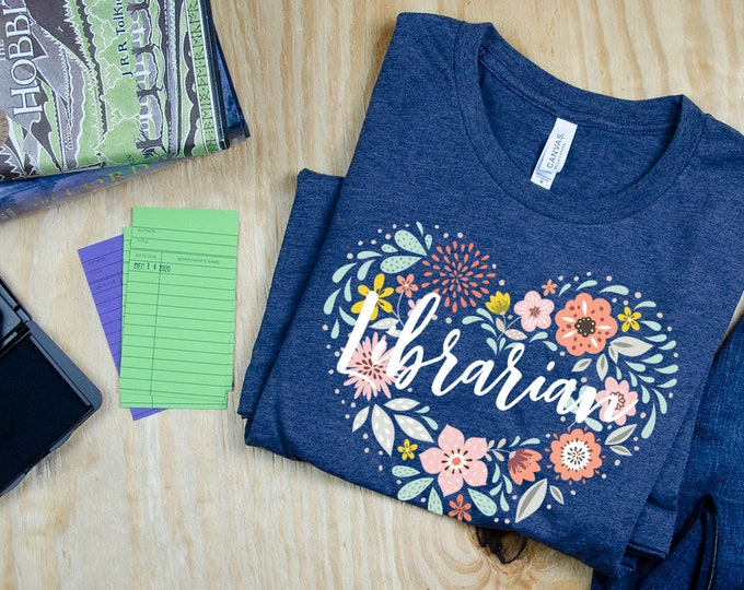 Library Floral Heart - Librarian T-shirt | Super-Soft, Vintage-Feel Tshirt | Reading | Libraries | Gift for Librarians