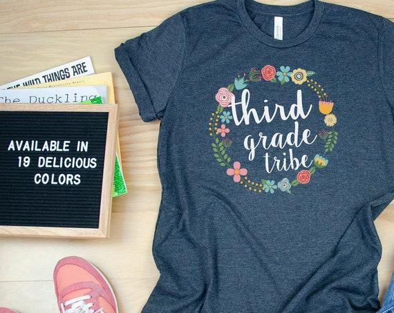 Farmhouse Floral Style Teacher Tribe Grade Level Tshirt | First Grade, Second Grade Teacher shirt | Team Teacher Tee | Grade Level Shirt