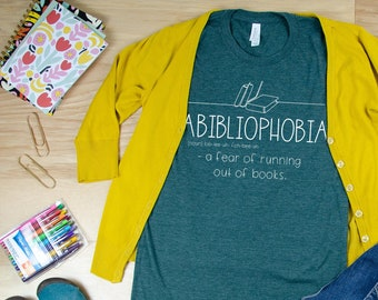 Abibliophobia Librarian Reading T-shirt | Bookish Tshirt | Gift for Book Lover | Library Science | Book
