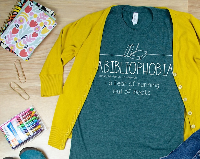 Abibliophobia Librarian Reading T-shirt   Bookish Tshirt   Gift for Book Lover   Library Science   Book
