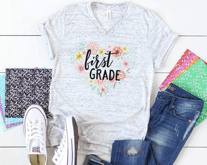 Floral Heart Any Grade Level Teacher Unisex V-Neck Short Sleeve Teacher T-shirt   Vintage-Feel & Super-Soft   First Grade Teacher
