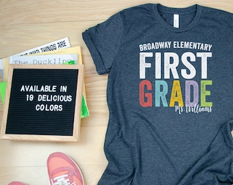 Bold and Colorful Personalized with Teacher & School Name Teacher Tshirt