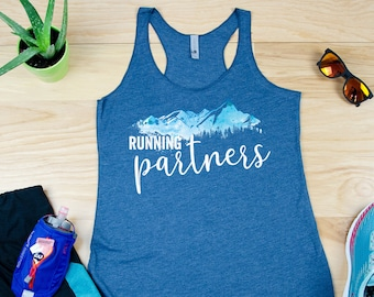 Running Partners Racerback Tank | Super-Soft Workout Tank| Running Tank | Gift for Runner | Outdoors