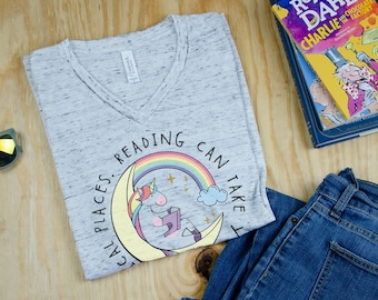 Unicorn Reading Can Take You to Magical Places Unisex V-Neck and Crew Short Sleeve T-shirt | Reading T-shirt | Librarian