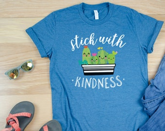 Cute Cactus Stick With Kindness Teacher Reading T-shirt | Cacti Tshirt | Character | First Grade