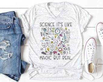 Science It's Like Magic But Real Teacher Unisex V-Neck Short Sleeve Teacher T-shirt | Vintage-Feel & Super-Soft | Science Teacher