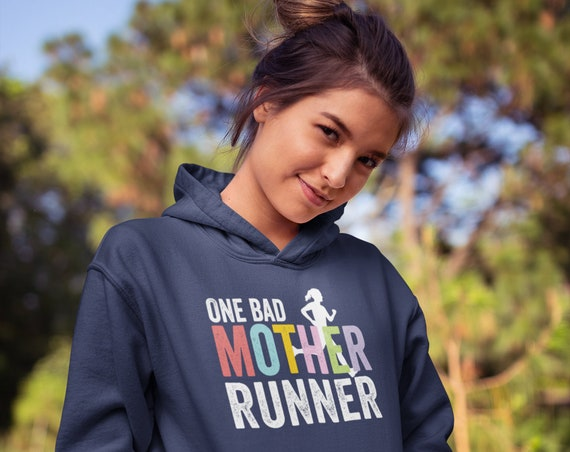 One Bad Mother Runner Running Fleece Pullover Hoodie | Super-Soft and Vintage-feel | Hoodie for Marathon or Trail Runner