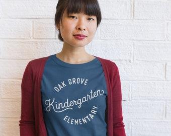 "Kindergarten ""Vintage-Style"" Scripted School Name Teacher Shirt | Customized School Spirit Tshirt"