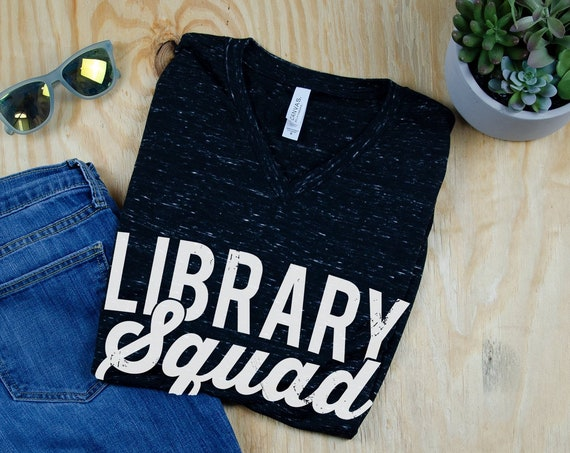 Library Squad Unisex Marble V-Neck Short Sleeve T-shirt | Vintage-Feel & Super-Soft | Librarian Tshirt
