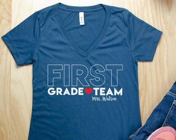 Big Letters With Heart Any Grade Level Women's Fit Teacher T-shirt | First Grade Kindergarten Level Shirt | Elementary Teacher | Any Grade