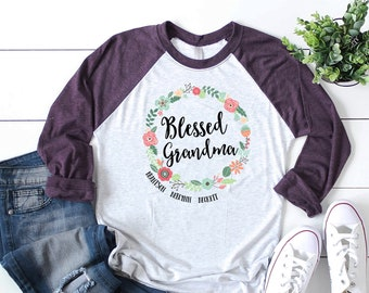 Blessed Grandma Floral Wreath Personalized Tshirt with Grandchildren's Names