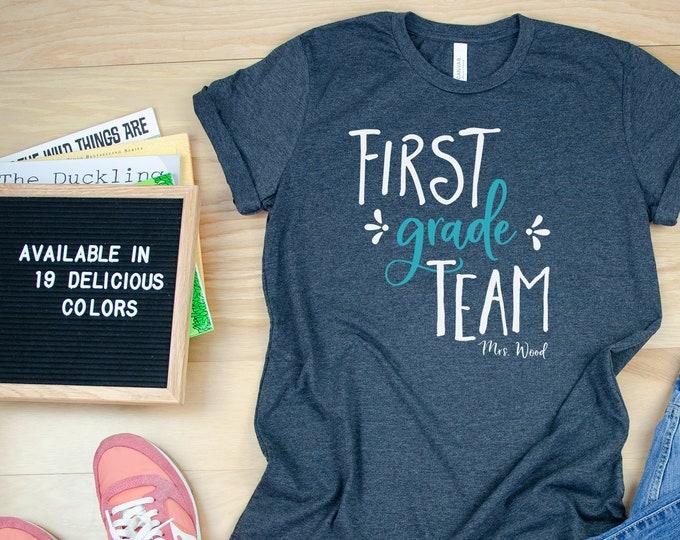 "Featured listing image: Hand Drawn ""Any"" Grade Team Teacher Shirt with Teacher Name | Grade Level Tshirt | Cute Team Shirt Elementary | First, Second, Third Grade"