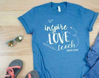 Inspire Love Teach Cute Teacher Tshirt | Available for Kindergarten - Sixth Grade