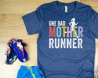 One Bad Mother Runner Short Sleeve Unisex T-shirt | Trail Running | Running Gift for Mom | Gift for Her | Running shirt