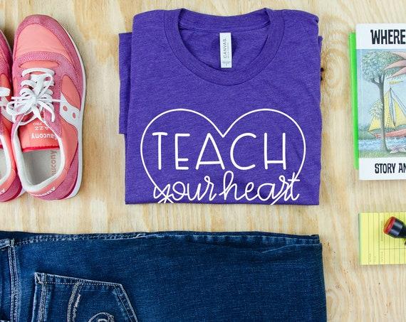 Teach Your Heart Out Cute Font Unisex Triblend Teacher T-shirt | Elementary Teacher | Gift for Teacher