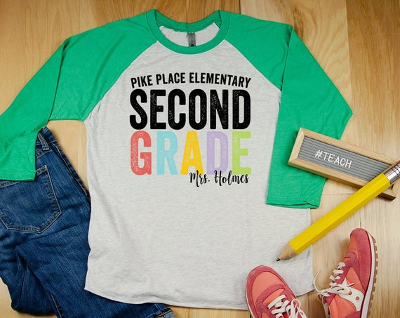 """Bold & Colorful Personalized with Teacher and School Name """"Any Grade Level"""" 