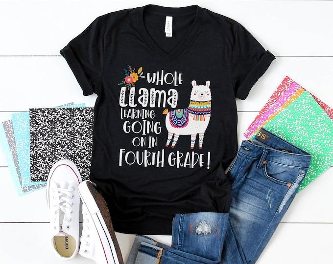 Whole LLama Learning Any Grade Level Teacher Unisex V-Neck Short Sleeve Teacher T-shirt   Vintage-Feel & Super-Soft   First Grade Teacher