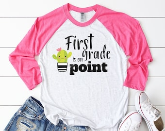 "Any Grade Cactus ""First Grade is Sweet"" 3/4 Sleeve Raglan T-shirt"