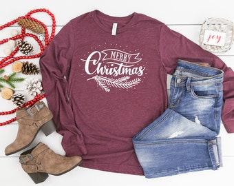 Merry Christmas Farmhouse Style Fern Unisex Long Sleeve Tshirt   Christmas Shirt   Vintage Holidays