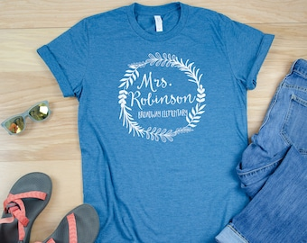 Fern Wreath Custom Teacher Shirt with Teacher Name | Grade Level Tshirt | Cute Team Shirt Elementary | School Name