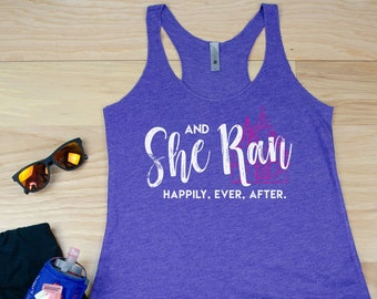 Running Tank | And She Ran Happily Ever After Racerback Tank | Super-Soft Vintage Feel | Running Disney | Gift for Runner | Marathon