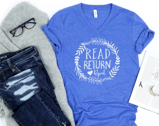 Read Return Repeat Librarian Unisex V-Neck Short Sleeve T-shirt | Vintage-Feel & Super-Soft | Reading Library
