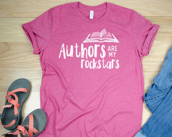 Librarian T-shirt Authors are my Rockstars | Book Nerd | Book Lover | Gift for Librarian | Reading Gift | Teacher
