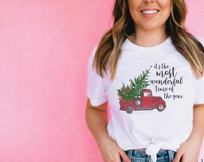 Christmas Tshirt It's the Most Wonderful Time of the Year with Vintage Red Truck   Unisex Short Sleeve Tshirt   Vintage Holidays