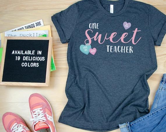 One Sweet Teacher Valentine's Day Tshirt | Candy | Cute Teacher shirt for Valentine's Day