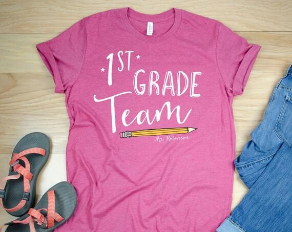 "Hand Drawn Pencil ""Any"" Grade Team Teacher Shirt with Teacher Name | Grade Level Tshirt | Cute Team Shirt Elementary | First and Second"