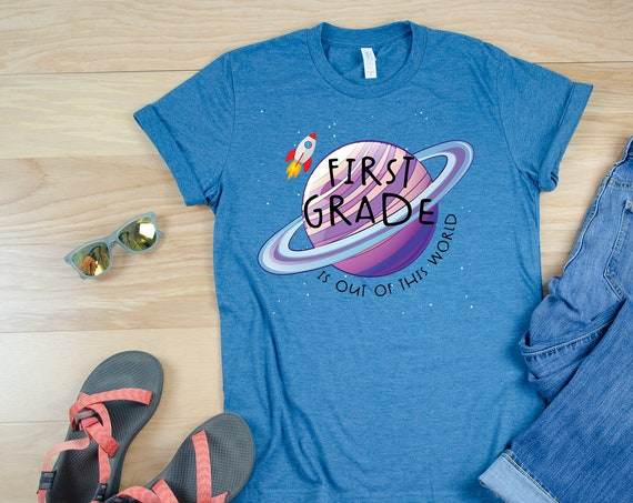 "Space Theme ""Out of this World"" Any Grade Level Teacher Tshirt 
