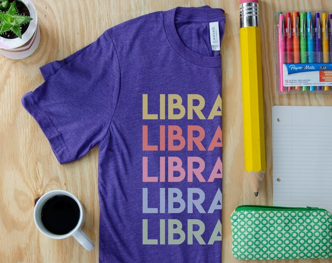 Librarian Repeated Colorful Text Reading & Librarian T-shirt | Bookish Shirt | Library Tee