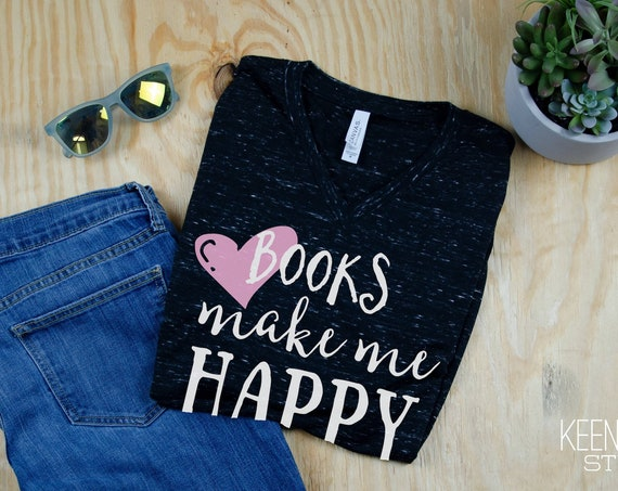 Books Make Me Happy Librarian Unisex V-Neck Short Sleeve T-shirt | Reading Tshirt