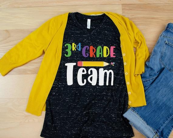 Colorful Pencil Team Teacher Unisex V-Neck Short Sleeve T-shirt | Vintage-Feel & Super-Soft | Teaching Tshirt | First Grade Teacher