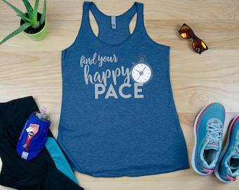 Find Your Happy Pace Running Racerback Tank | Super-Soft Workout Tank| Running Tank | Gift for Runner | Half-Marathon