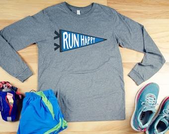 Run Happy Pennant Hand Drawn Running Unisex Long Sleeve Tshirt  | Trail Runner Mountains | Gift for Runner