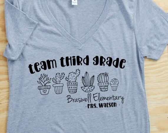 Cute Cactus Line Any Grade Level Women's Fit Teacher T-shirt | First Grade Kindergarten Level Shirt | Elementary Teacher | Any Grade