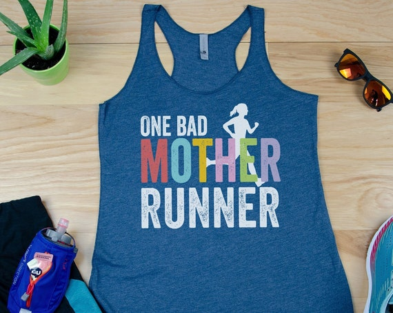 Running Tank | Runner | One Bad Mother Runner Racerback Tank| Super-Soft Workout Tank| Running Outdoors Trail | Gift Mother's Day
