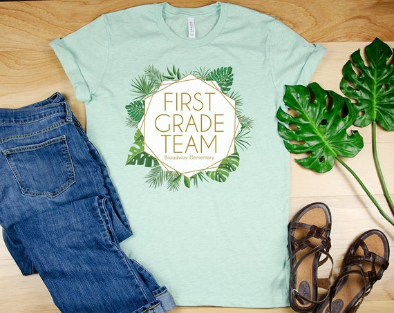 "Palm & Gold ""Any"" Grade Team Teacher Shirt with Teacher Name 