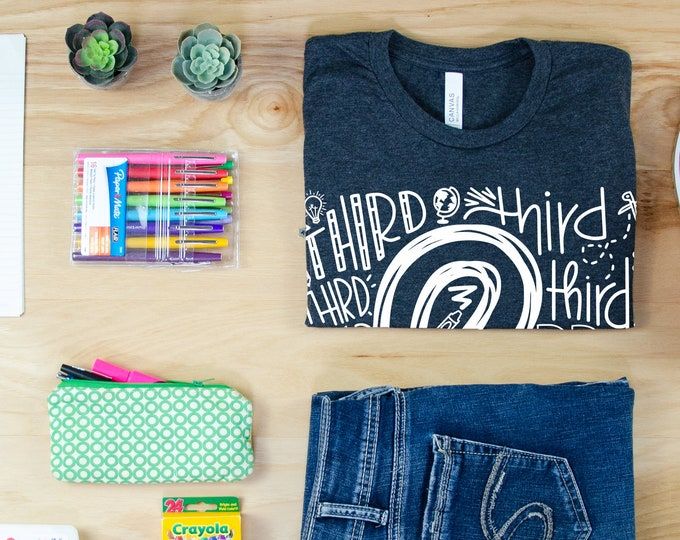 Teacher Hand-Lettered Doodle Word Cloud for Any Grade Level | Vintage-Feel & Super-Soft | Teaching Tshirt | First Grade Teacher