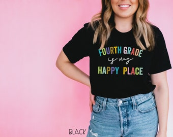 Second Grade through Fifth Grade is My Happy Place | Kindergarten | Vintage-Feel & Super-Soft | Teaching Tshirt | Third Grade Teacher