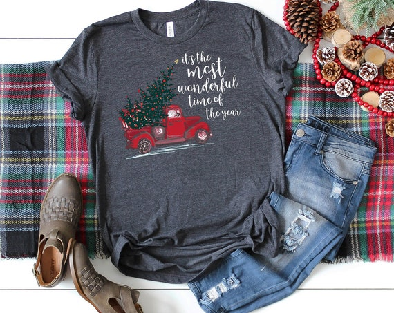 It's the Most Wonderful Time of the Year Red Truck Christmas Unisex Premium Short Sleeve Tshirt   Christmas Shirt   Vintage Holidays