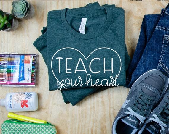 Teach your Heart Out Cute Font Teacher Tshirt | First Grade, Second Grade | Gift for Teacher | Team Teacher Tee | Anchor Chart Expert